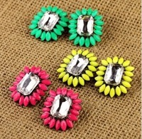 Min Order $10 New Design Shourouk Style Neon Gem stud earring fashion free shipping Jewelry Gifts for women wholesale E007