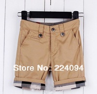 Free shipping 2013 boy fashion  plaid shorts kids cothing  boy's 100% cotton fashion shorts  2 colors 1-6 yearsold