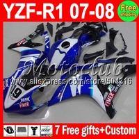 Racing head 7gift Custom FIMER For YAMAYA 07-08 YZFR1 YZF R1 YZF-R1 07 08 1066 BLUE WHITE YZF 1000 YZF1000 2007 2008 Fairing Kit
