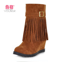 2013 autumn and winter tassel boots fashion boots women's wedge platform shoes slip-resistant ankle-length boots high-heeled