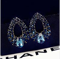 Free Shipping!2014 Fashion Accessories Elegant Personality Full Rhinestone Blue Crystal Drop Earrings Bride Earrings for Women