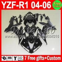 7gifts Flat gloss black For YAMAYA YZF R1 04 05 06 Custom YZFR1 YZF1000 993 YZF-R1 YZF 1000 ALL Black 2004 2005 2006 Fairing Kit