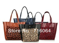 Wholesale New Big handbags Fashion Leopard Tote bags Ms Leather shoulder bag women leather bags purse