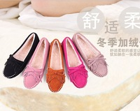 2013 autumn and winter fashion tassel genuine leather female flat round toe flats shoes shallow mouth Moccasins women's plus