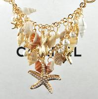 2013 New Classic Designer Chain Layered Shell Starfish Pearl Choker Bib Vintage Statement Bib Necklace Fashion Jewelry For Women