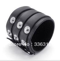 LBG0022137  black Leather  Bracelet mens Punk Fashion Belt Bangle Cuff Wristband christmas gift