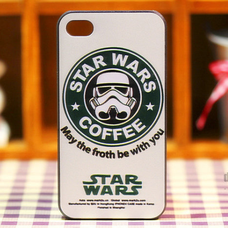 1PCS,2014 Fashion Brand Luxury Star Wars Coffee Phone case for iphone 4 4S 5 5S protective Hard case for apple 5,free shipping(China (Mainland))