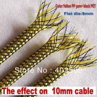32feet 2014 Best quality 10M/lot  8mm Yellow with black PP yarn+PET mixed insulation expandable sleeve for 6~12mm cable
