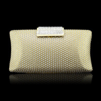 Women Luxury diamond PU leather golden clutch evening bags,high grade fashion crystal clutches,bridal wedding handbags XP139