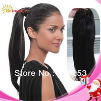 Natural straight looking 100% human weaving virgin peruvian hair drawstring ponytail extension