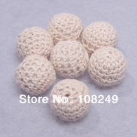 Ivory white color chunky round 20mm acrylic handmade woven crochet beads.Free shipping 100 pieces jewelry chunky wool beads.