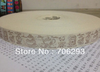 "Free shipping 3/4""(20mmx100m) Wholesale Handmade the cheapest 100% Cotton Ribbon Sewing tape Cake fork teapot ribbon"