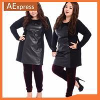 2014 New Spring, Plus Size Women Dresses of Long Sleeve, Elegant Faux Leather Mini Dresses, Above Knee,  XL, XXL, XXXL, P-149