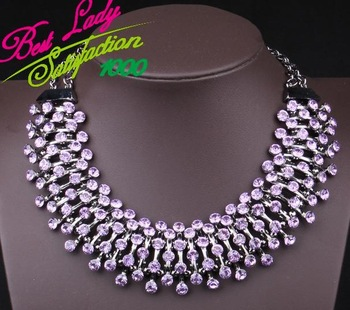 2013 european big super exaggerated fashion necklace purple glass crystal jewelry ...