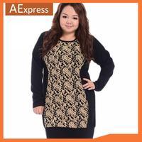 2014 New, Long Sleeve Plus Size Women Dresses, Fashion Lace Patchwork Slim Dresses of Knee Length, XL, XXL, 3XL, 4XL, P-151