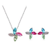 (mix order) Free Shipping & Fashion Full colorful  clover crystal jewelry set wholesale
