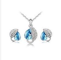 (mix order) Free Shipping & Fashion rhinestone crystal jewelry - Acacia leaf earring necklace set  wholesale