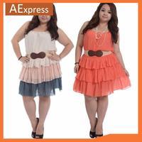 2014 New Arrival Korean Fashion, Plus Size Women Dresses with Belt, Sleeveless Mini Dress  XL, XXL, 3XL, P-154