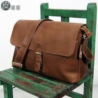 Leather brief vintage british style genuine leather crazy horse leather shoulder bag messenger bag 14 laptop bag