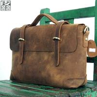 Fashion leather vintage messenger bag crazy horse leather fashion genuine leather handbag horizontal male women's handbag