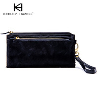 Keeleyhazell fashion cowhide horsehair leopard print zipper women's handbag wallet female long design