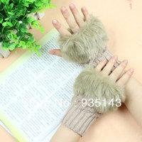 Free Shipping Fashion Girl Rabbit Fur Hand Wrist Warmer Glove for Winter Fingerless