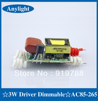 20pcs/lot 3*1W Dimmable Driver AC85-265v 50/60Hz led bulb power supply built-in constant current LED driver for DIY WLD05