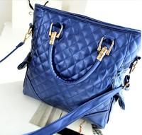 2013 new fashion brand handbag noble casual rhombus plaid embroidery line tote bag women shoulder bag, TR13, free/drop shipping
