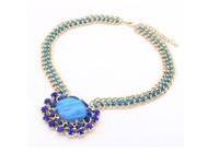 Min.order is $10 vintage Statement Necklace Bubble  Free Shipping  Neon Color Hand-woven Bohemia 6COlor Necklace Pendants