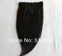 5A Peruvian Clip-In-Hair 115g / 160g #1,#1B,#2,#4 Yaki Clip On Hair Extension Peruvian Virgin Hair for Full Head Free Shipping