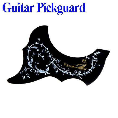 Fashion Bird Flower Pattern Acoustic Guitar Pickguard Scratch Plate PVC Black(China (Mainland))
