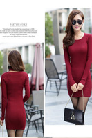 Women's slim medium-long o-neck sweater one-piece dress 8905