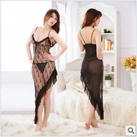 Lace spaghetti strap nightgown female summer sexy sleepwear female temptation sleepwear spaghetti strap female lounge