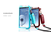 Genuine Hanging neck Mobile phone Leather Case with headphones Lanyard for samsung galaxy s3 i9300 free shipping
