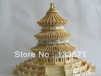 3D Wooden Architectural Model Intellectual Puzzle Educational Toys Children Wooden Puzzle Temple Heaven FreeShipping