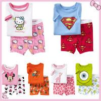 2014 New Summer Children's Wear, Cartoon Clothing Set, Short Sleeves, Children Suit, Boy and Girl Clothes,LD-001