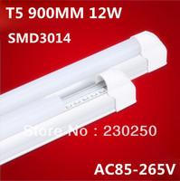 Free shipping 50pcs led t5 tube 12w 3ft t5 led tube 900mm 85-265v led fluorescent light 900-1100lm best quality led tube light