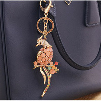 New Fashion Classic Gold Plated Alloy Cat's Eye Rhinestone Peacock Keychain Keyring Bag Charm Jewelry Pendant Nickel Free
