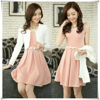2013 autumn and winter fashion slim women's sweet princess twinset basic stripe one-piece dress