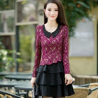 Autumn and winter lace one-piece dress ol slim elegant long-sleeve basic skirt