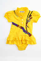 Hot selling new arrival 2014 summer printed casual baby girls cotton romper dress 5pcs/lot wholesale