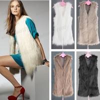 Free Shipping Fashion Women's Faux Fur Long Vest Winter Warm Coat Outwear Hair Jacket Waistcoat Tops
