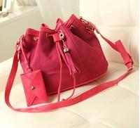 2013 autumn nubuck leather color block bucket bag messenger bag female bags new arrival