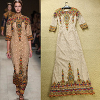 Stunning 2014 Spring Runway European Fashion Women Luxury Embroidery Evening Long Dress Elegant Full Lace Dresses SS13381