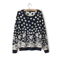 Free Shipping Women's wool sweater lady's flower sweaters fashion shirt cheap long sleeve for woman sweaterwholesale TXS1003