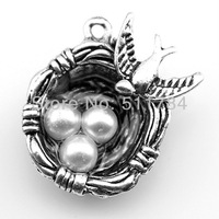 5pcs/lot 2 color 24*19*8mm antique silver,antique bronze plated bird & egg nest charms
