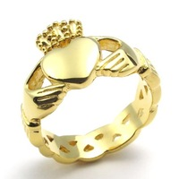 Stainless Steel Gold Plated Claddagh Ring with Celtic Knot Eternity Design His and Hers Promise Ring