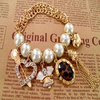 Min.order is $10 (mix order) Free Shipping & Fashion accessories original design leopard print sparkling pearl bracelet  TM-7.99