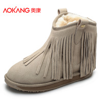 Aokang women's shoes 2013 cowhide snow boots fashion casual tassel thermal autumn and winter boots