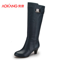 Aokang women's shoes 2013 autumn and winter genuine leather elegant high-leg boots fashion trend of the high-heeled boots